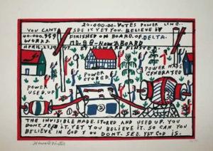 Original Howard Finster Serigraph Print -Electricity $2,500 Framed