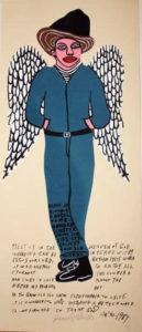 Original Howard Finster Serigraph Print -Elvis at 3: Wings $1800 Framed