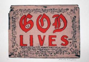 Original Howard Finster Serigraph Print -God Lives $1600 Framed