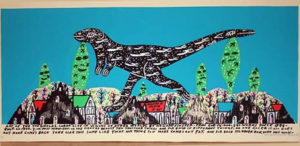Original Howard Finster Serigraph Print - Leaping Lizard $1800 Framed