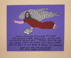 Original Howard Finster Serigraph Print -Red Angel on Purple $1600 Framed