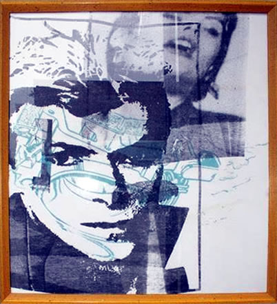 "Peter Mars Serigraph print on fabric - David Bowie #2 22""x20"" $1500 Framed"