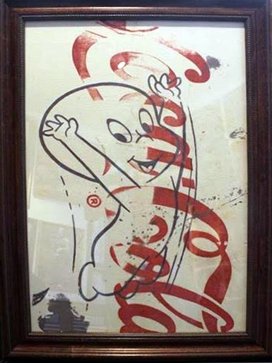 "Peter Mars Serigraph print on fabric -Casper #3 22""x20"" $1000 Framed"