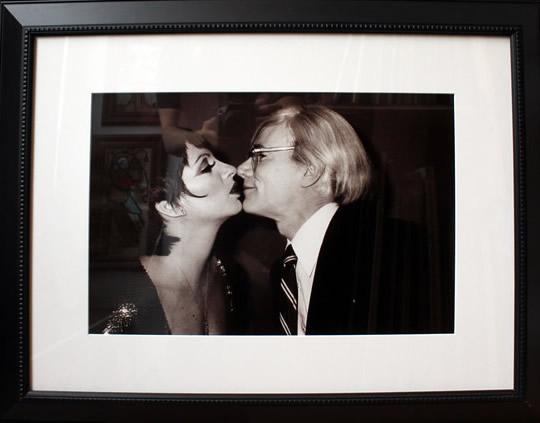 "Original Chris Makos Silver Gelatin Print - Andy Warhol Kissing Liza Minelli 21""x27"" Framed"