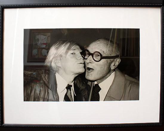 "Original Chris Makos Silver Gelatin Print - Andy Warhol Kissing Philip Johnson 21""x27"" Framed"
