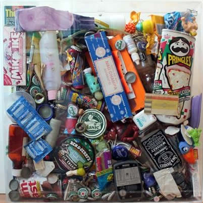 "Original Chris Peldo Art - Garbage Painting #1 20""x20"" $1500"
