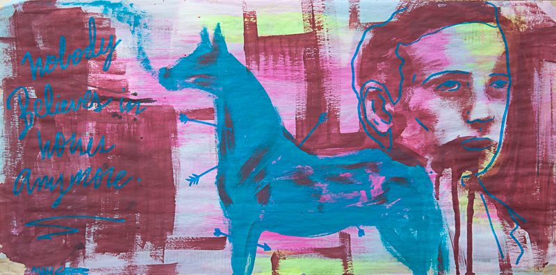 "Matt Geer painting - Nobody Believes in Horses Anymore 11""x""22"