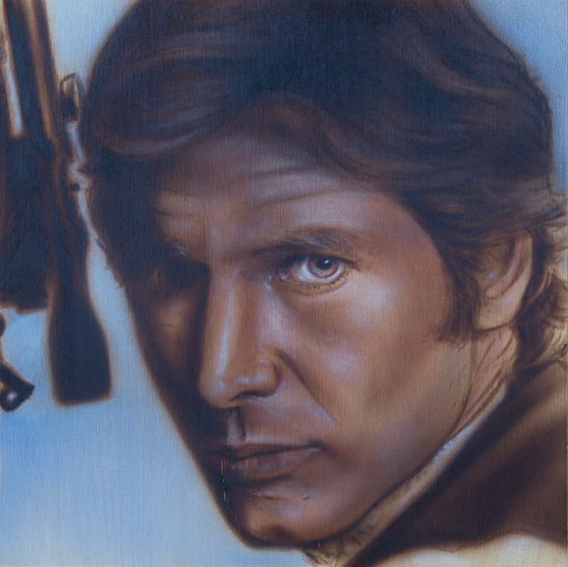 "Ben Laskov - Han Solo 12""x12"" Airbrush on Board"