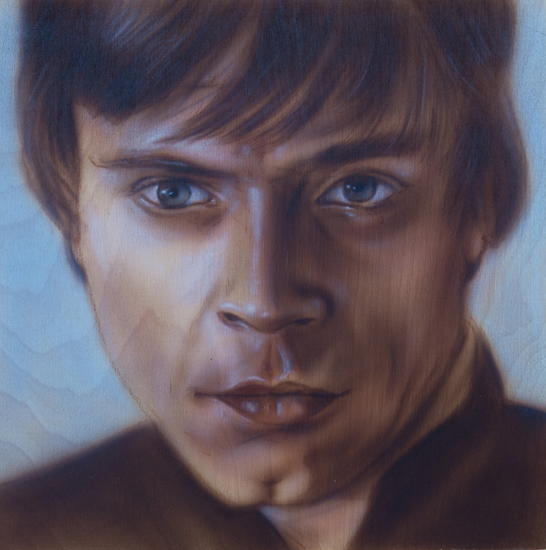 "Ben Laskov - Luke Skywalker 12""x12"" Airbrush on Board"