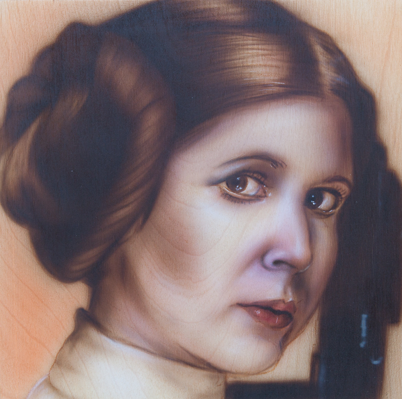 "Ben Laskov - Princess Leia 12""x12"" Airbrush on Board"