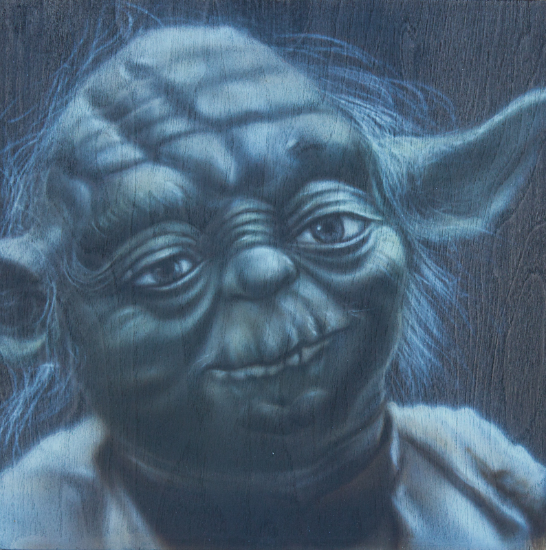 "Ben Laskov - Yoda 12""x12"" Airbrush on Board"