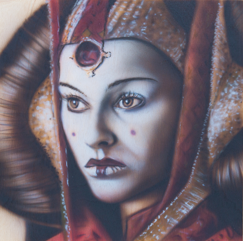 "Ben Laskov - Princess Amidala 12""x12"" Airbrush on Board"