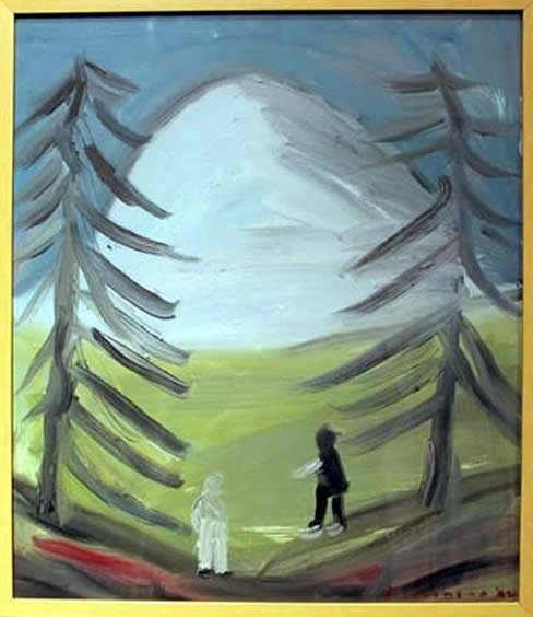 jay steensma - signed oil on canvas framed two trees two people