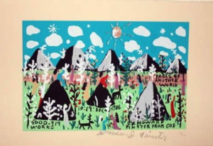 Original Howard Finster signed serigraph print Pages of Another World