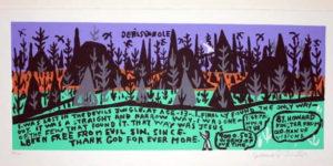 Original Howard Finster signed serigraph print The Devil's Jungle