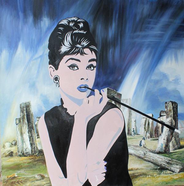 Audrey Hepburn and Stonehenge by Maximilian