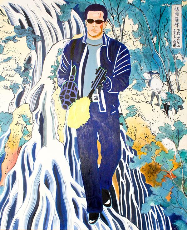 Arnold Schwarzenegger & Utagawa Hiroshige's Waterfall by Maximilian